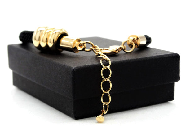 Black rope gold charms bracelet GIFT BOX