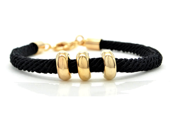 Black rope gold charms bracelet MAIN