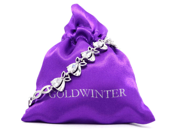 Sparkly white silver plated bracelet GIFT BAG