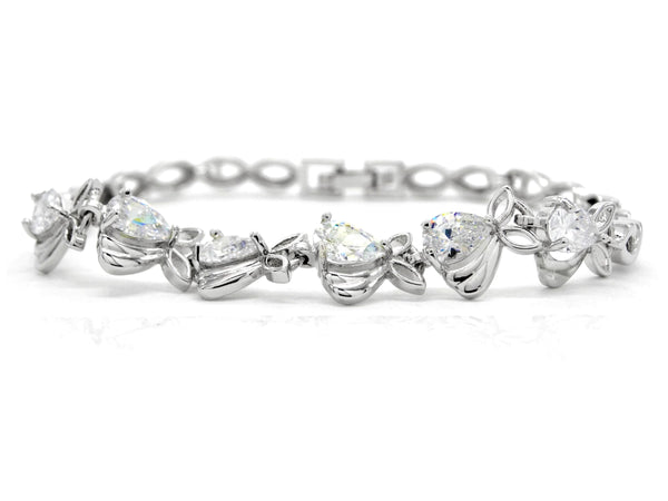 Sparkly white silver plated bracelet MAIN