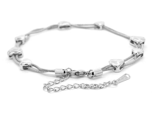 White gold hearts bracelet MAIN