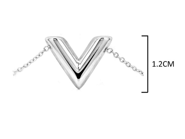 White gold letter V bracelet MEASUREMENT