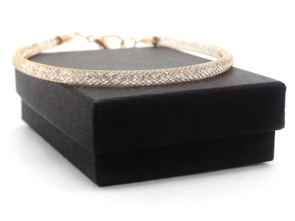 Gold mesh with gems inside bracelet GIFT BOX