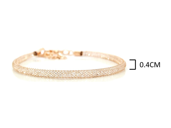 Gold mesh with gems inside bracelet MEASUREMENT