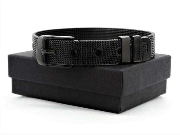 Black stainless steel belt bracelet GIFT BOX