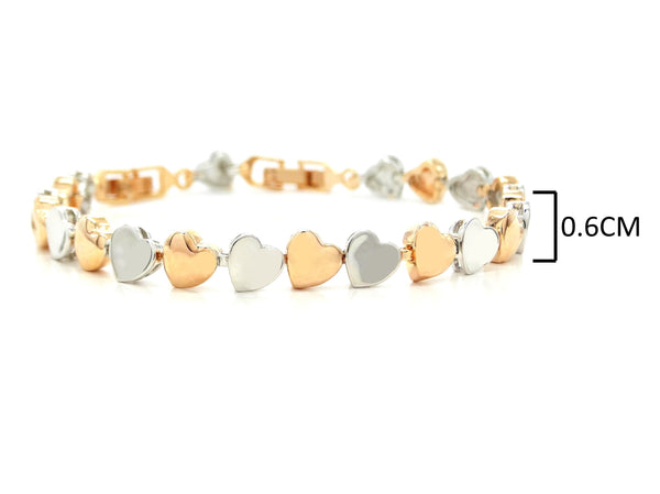 Rose and white gold heart bracelet MEASUREMENT