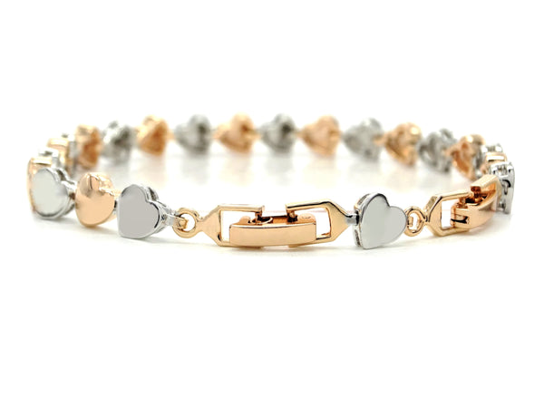 Rose and white gold heart bracelet BACK
