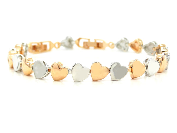 Rose and white gold heart bracelet MAIN