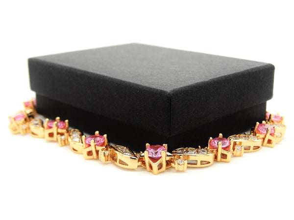 Yellow gold pink gems bracelet GIFT BOX