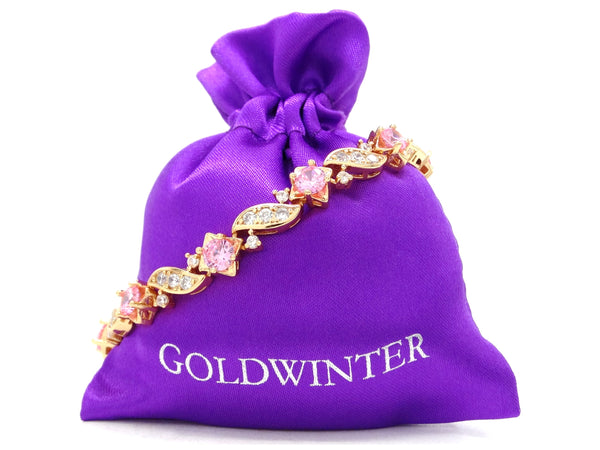 Yellow gold pink gems bracelet GIFT BAG