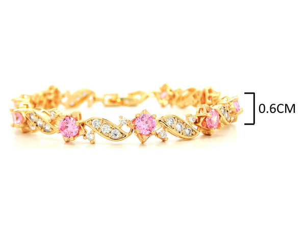 Yellow gold pink gems bracelet MEASUREMENT