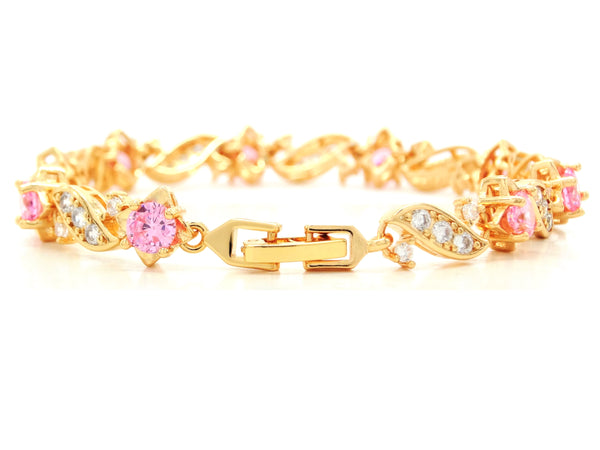 Yellow gold pink gems bracelet BACK