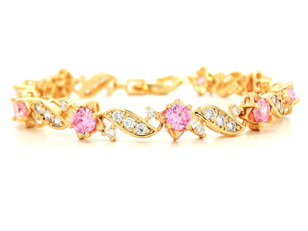Yellow gold pink gems bracelet MAIN
