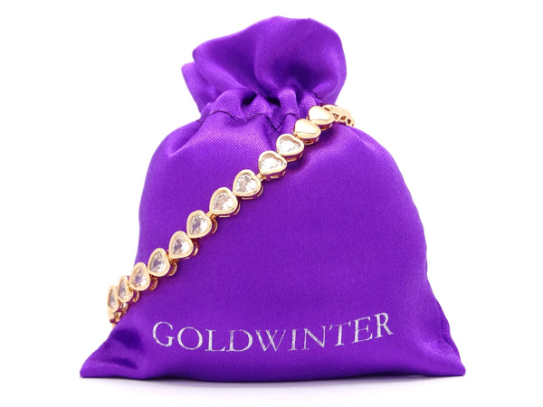 Yellow gold heart chain gems bracelet MEASUREMENT