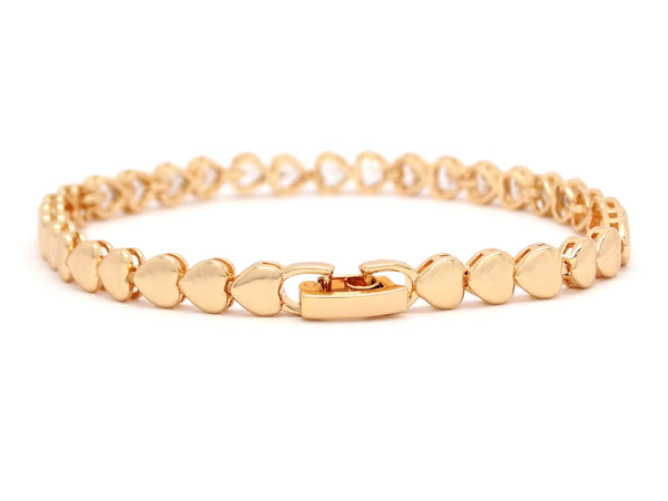 Yellow gold heart chain gems bracelet MAIN