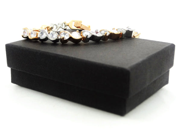 Yellow and white gold gems bracelet GIFT BOX