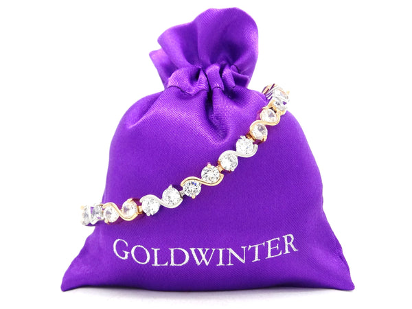 Yellow and white gold gems bracelet GIFT BAG
