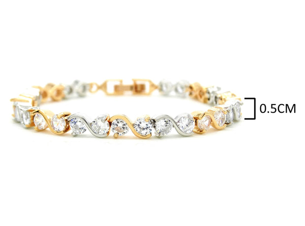 Yellow and white gold gems bracelet MEASUREMENT
