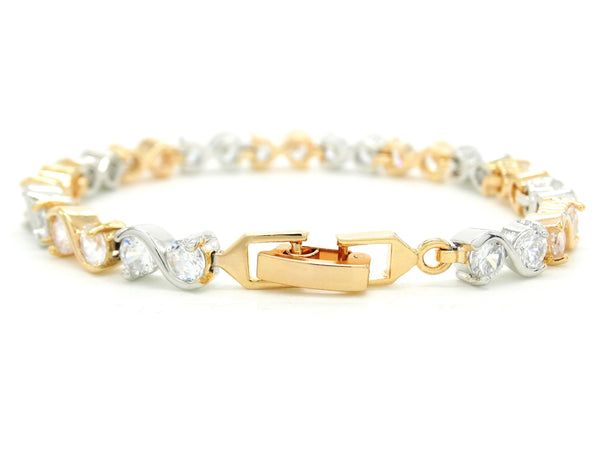 Yellow and white gold gems bracelet FASTENING
