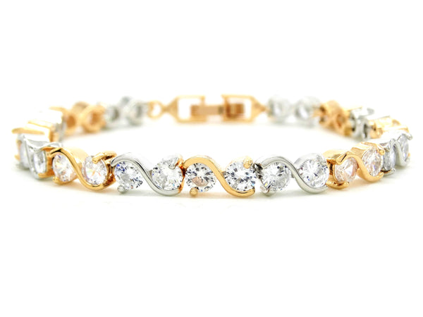 Yellow and white gold gems bracelet MAIN