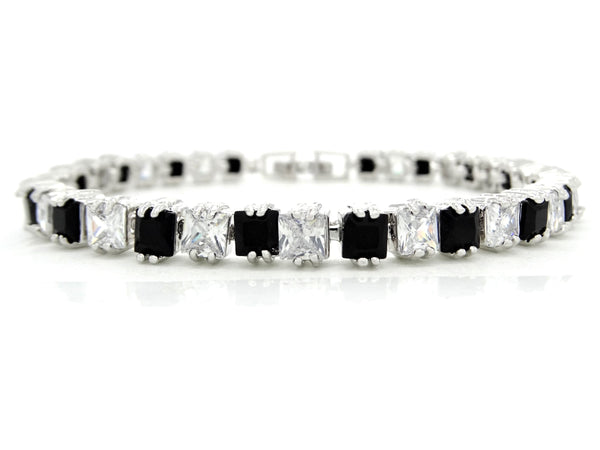 White gold princess black moonstone and clear gems bracelet MAIN