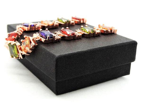 Rose gold radiant different colored gems bracelet GIFT BOX