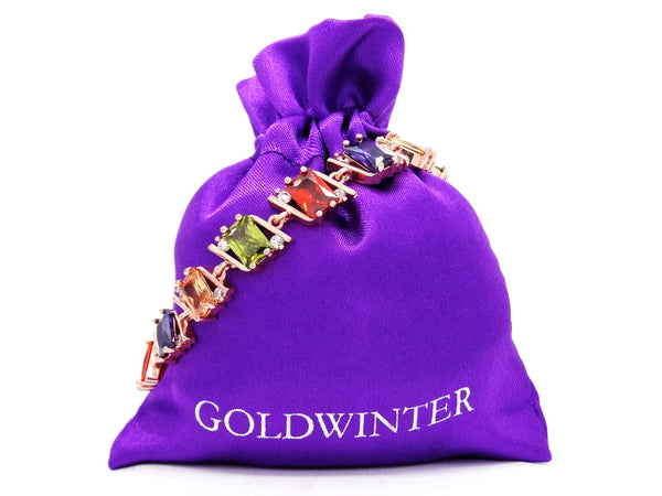 Rose gold radiant different colored gems bracelet GIFT BAG