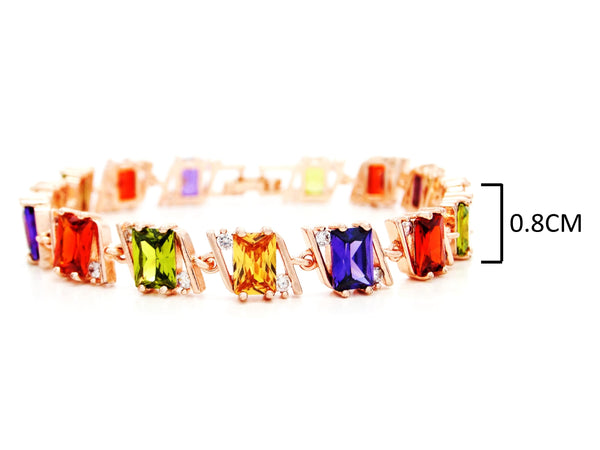 Rose gold radiant different colored gems bracelet MEASUREMENT