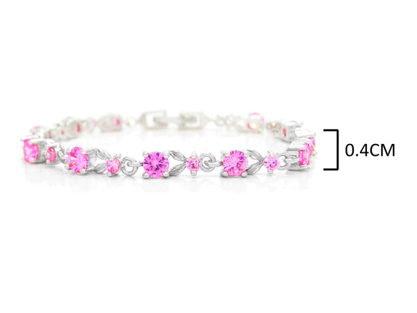 White gold round pink gems bracelet MEASUREMENT