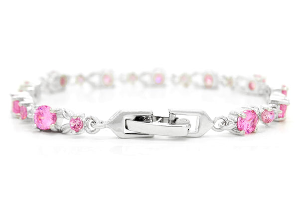 White gold round pink gems bracelet BACK