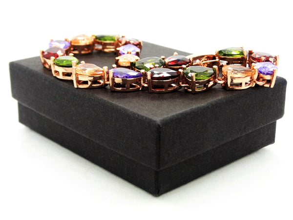 Rose gold different colored pear gems bracelet GIFT BOX