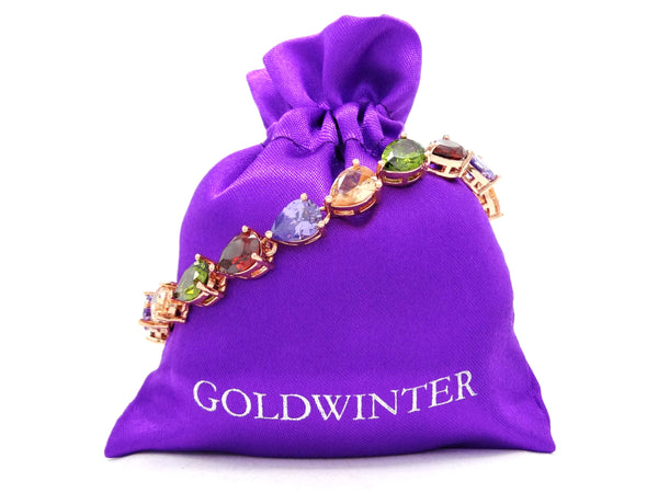Rose gold different colored pear gems bracelet GIFT BAG