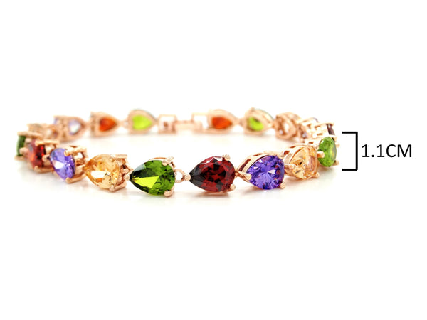 Rose gold different colored pear gems bracelet MEASUREMENT