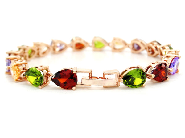 Rose gold different colored pear gems bracelet BACK