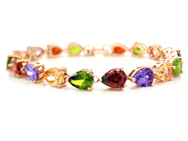 Rose gold different colored pear gems bracelet MAIN
