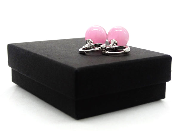 Pink moonstone hoop ball earrings GIFT BOX