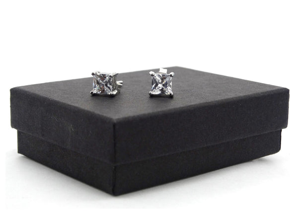 Clear princess silver stud earrings GIFT BOX