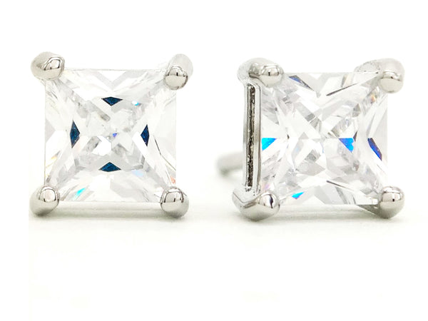 Clear princess silver stud earrings