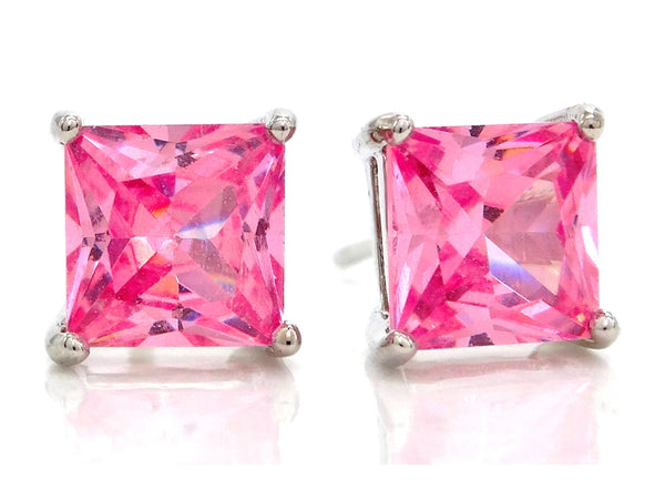 Pink princess stud earrings