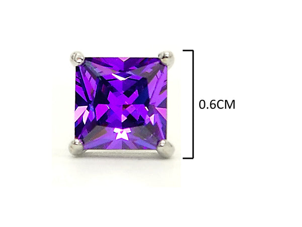 Purple princess stud earrings MEASUREMENT