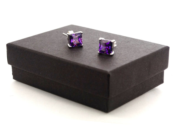Purple princess stud earrings GIFT BOX