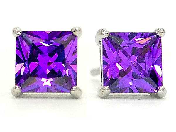 Purple princess stud earrings