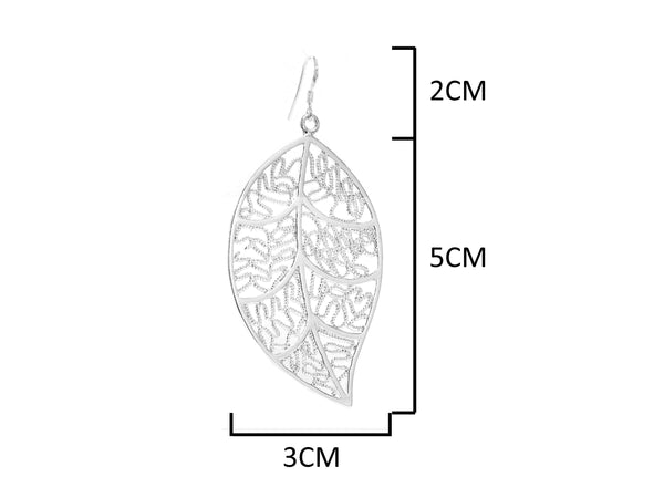 Silver leaf earrings MEASUREMENT