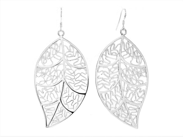 Silver leaf earrings MAIN