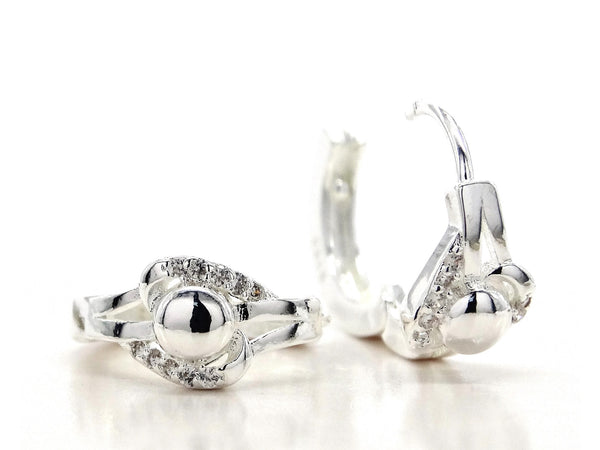 Sterling silver centre bead hoop earrings
