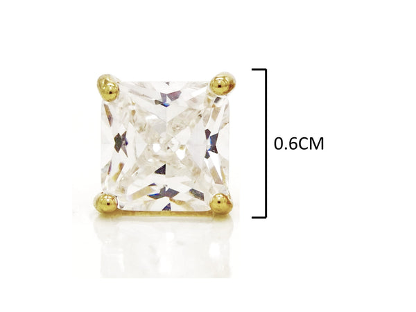 Clear princess gold stud earrings MEASUREMENT