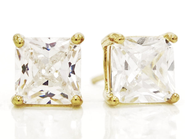 Clear princess gold stud earrings