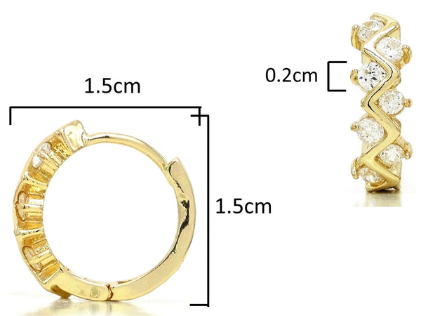 Gold designer hoop earrings MEASUREMENT