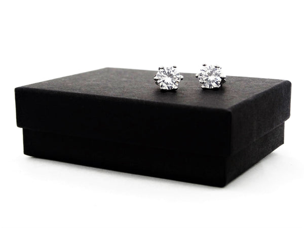 Clear gem silver stud earrings GIFT BOX