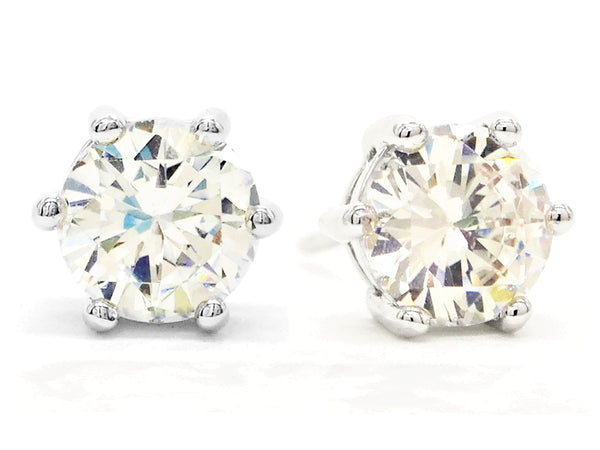 Clear gem silver stud earrings